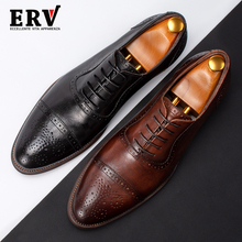 Summer Block Shoes Man's New Air-permeable Leisure Retro-Korean Oxford Leather Hand-made Carving
