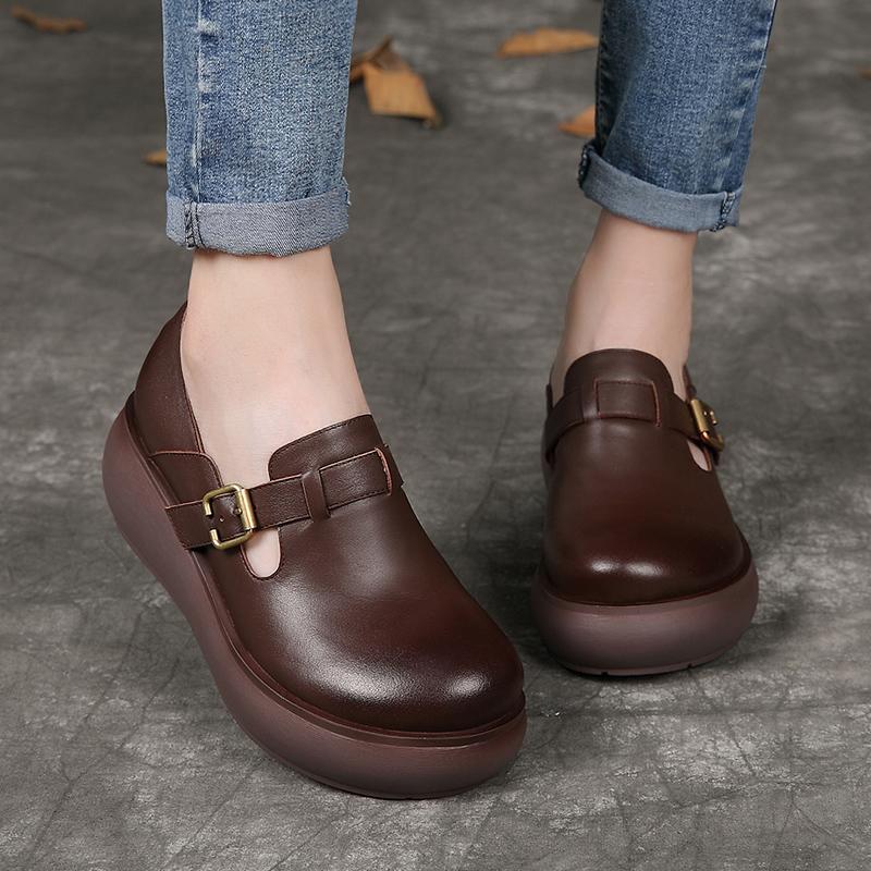 鞋子女秋季百搭真皮一脚蹬扣带单鞋复古休闲圆头舒适软厚底松糕鞋