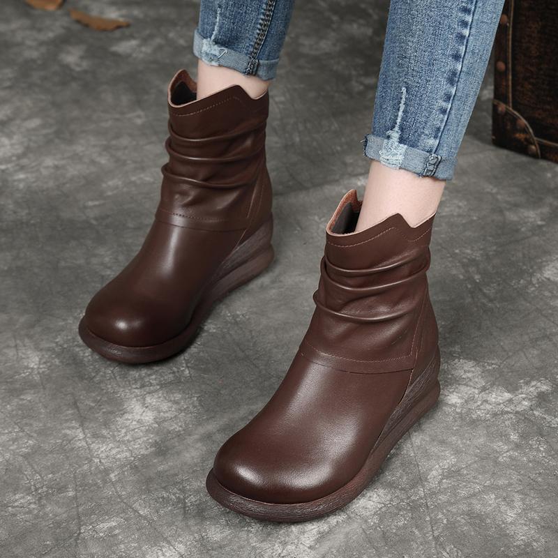 艺利阁2019新款真皮短靴女坡跟圆头软底复古牛皮马丁靴加绒棉鞋子