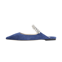 Jimmy Choo crystal embellished strap decorative design ladies suede pointed blue mules flat shoes