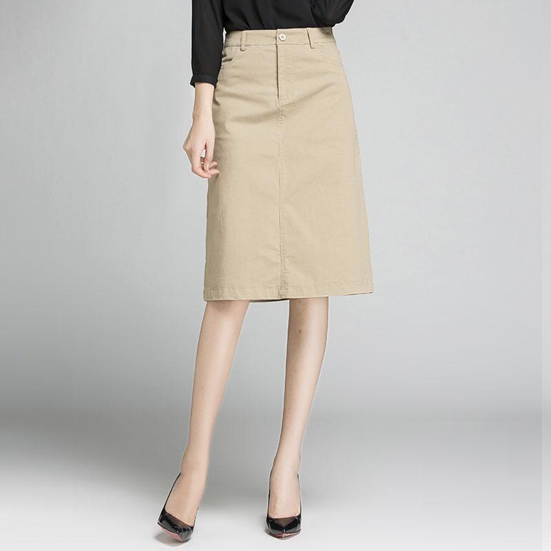 半裙女2021春款春秋夏显瘦遮胯高腰过膝中裙米色卡其色a字半身裙