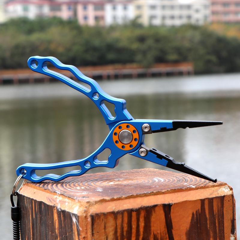 多功能路亚钳控鱼器 航空铝合金钓鱼钳子起鱼器 开环压铅鱼线剪刀