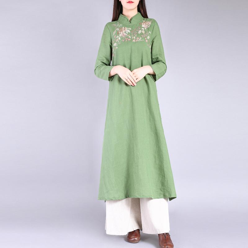 衣都格格春装新女复古刺绣立领高端苎麻茶服改良旗袍中长款连衣裙