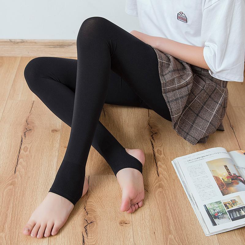 春秋季薄款打底裤女外穿黑色显瘦踩脚裤袜秋款中厚大码打底袜胖mm