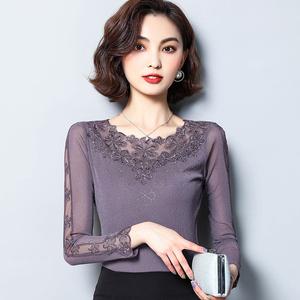 低领蕾丝打底衫女长袖春秋2020百搭新款亮丝网纱薄款内搭上衣小衫