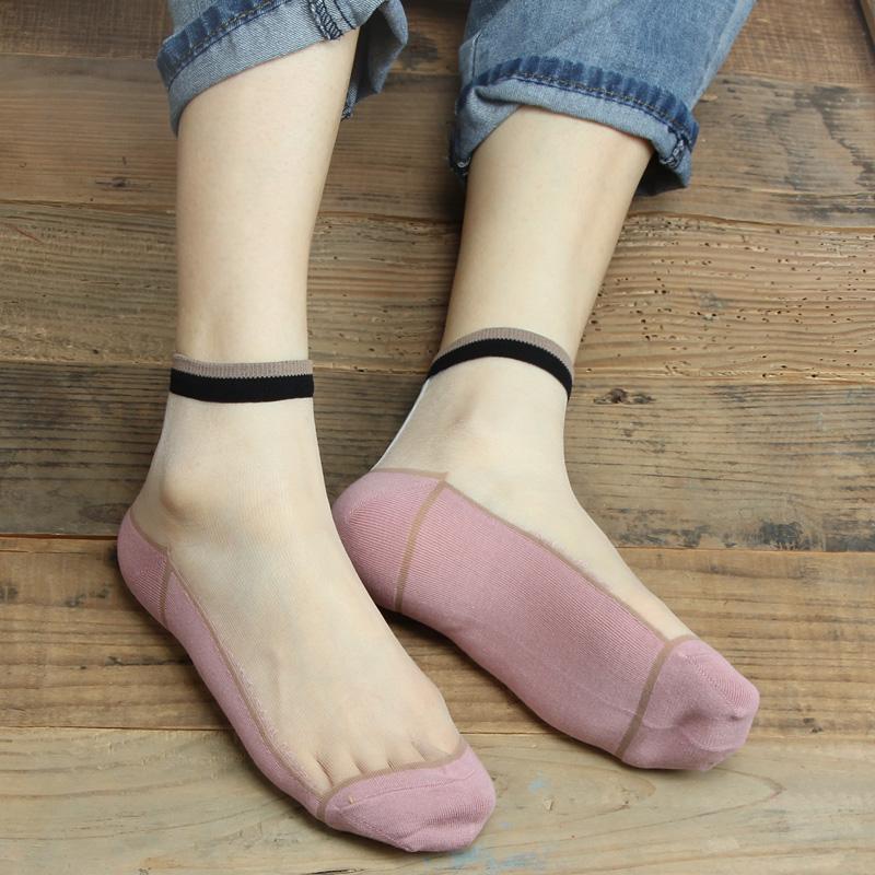 日系春秋款夏季薄女纯棉底透明玻璃丝短袜韩版复古透气丝袜水晶袜