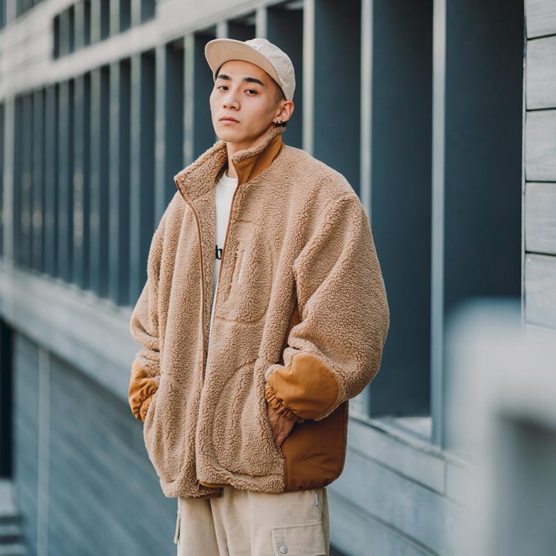 BDCT自制 街头宽松羊羔毛外套男冬季新款 日系加厚立领棉服外套潮
