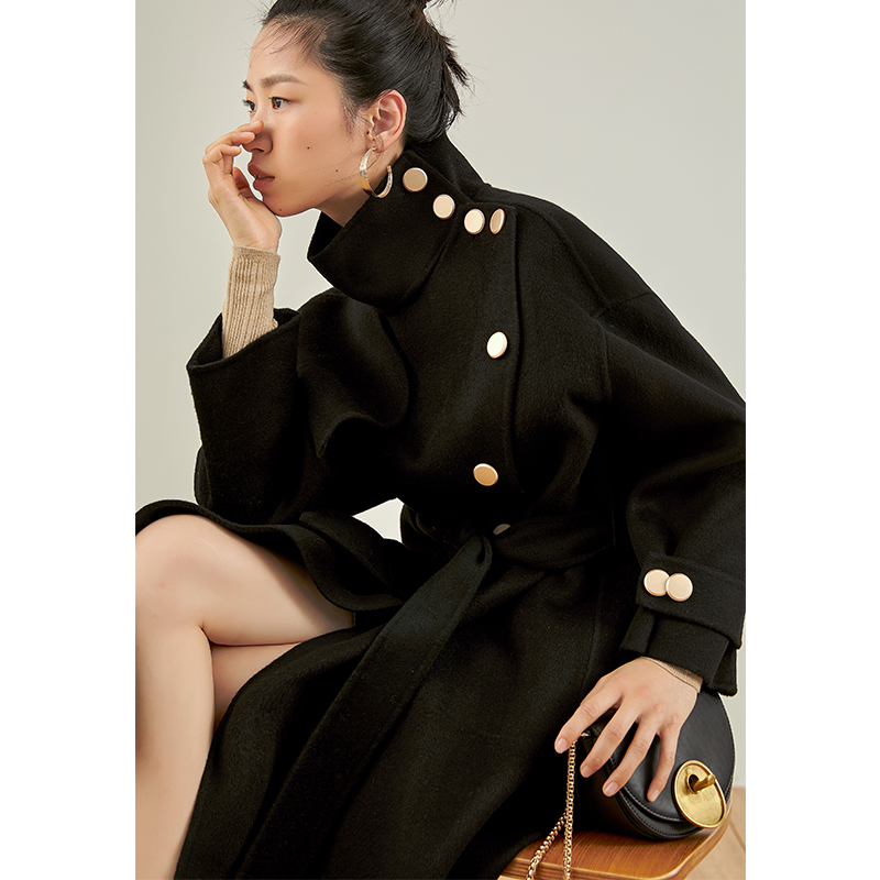 【领券拍下724】2020新款毛呢外套  风衣式双面羊绒双面呢大衣女