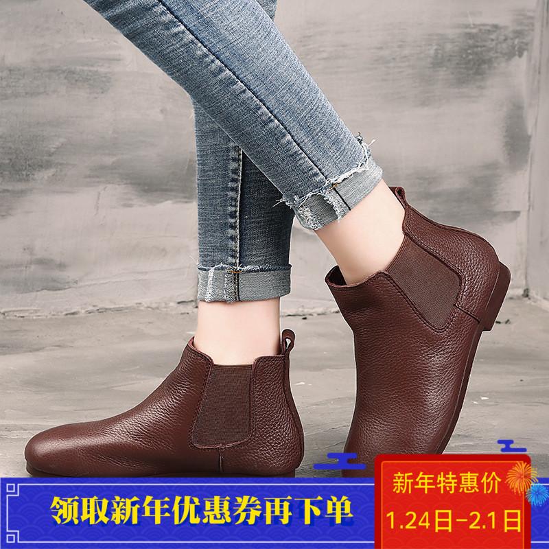 秋冬新款原创真皮复古手工短靴子平底文艺马丁靴森系女靴加绒棉靴