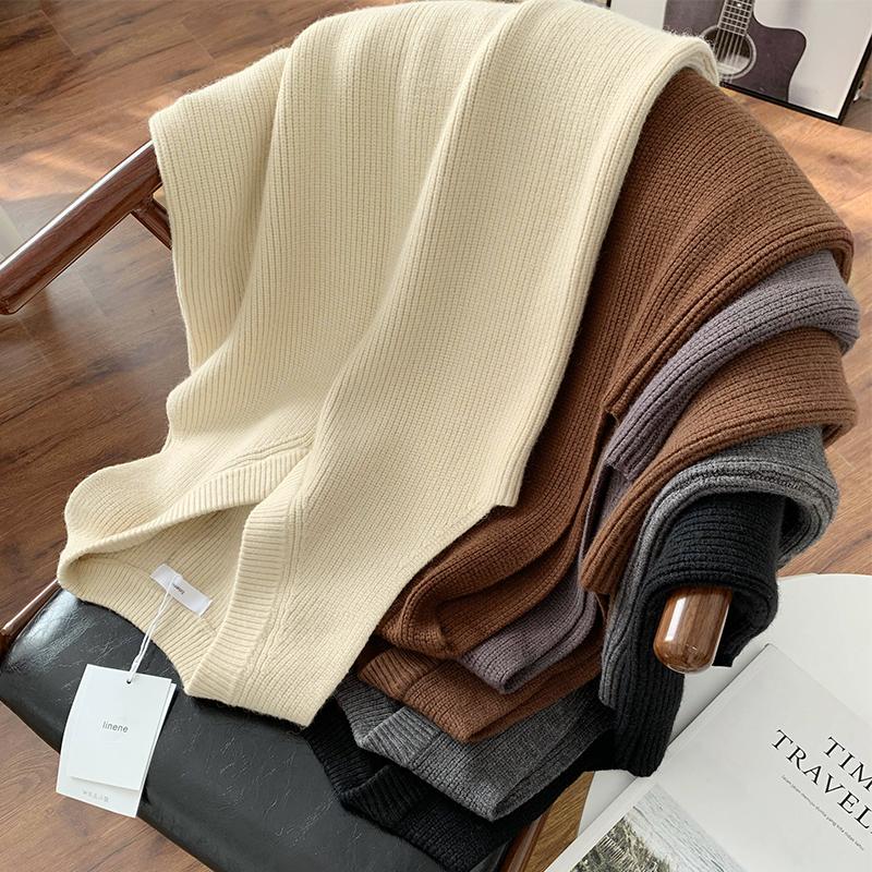 包邮款~ins时尚外搭马甲裙 中长款罗纹V领无袖针织连衣裙