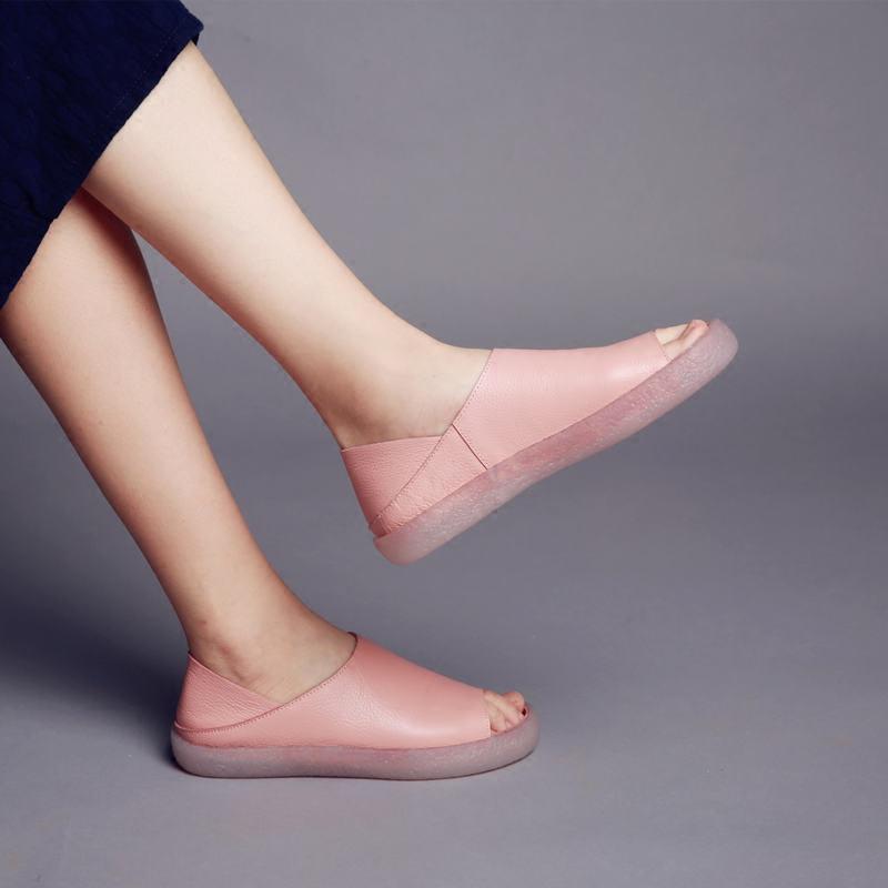 烁掌柜自制手工真皮女鞋头层牛皮简约舒适平底两穿森女系凉鞋