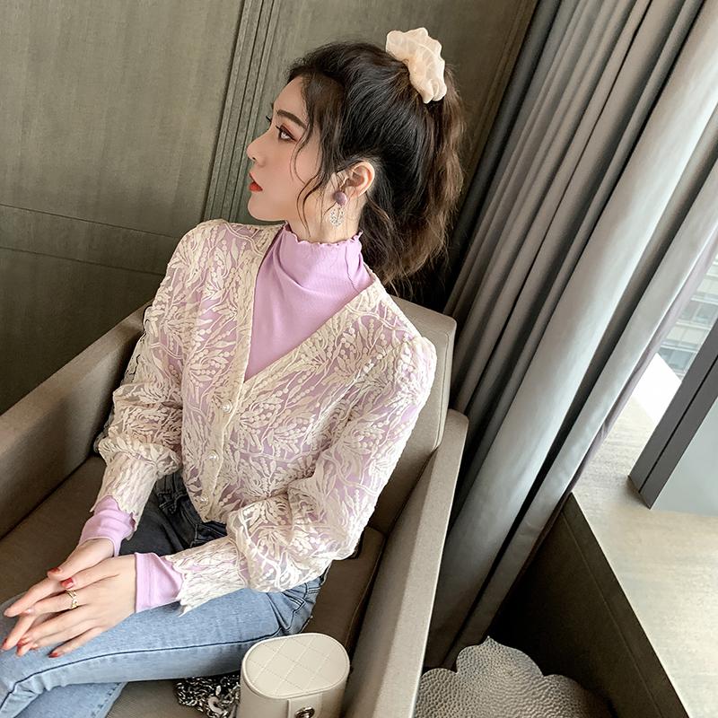 2020春装新款半高领纯色长袖T恤打底衫女洋气欧根纱开衫两件套潮@