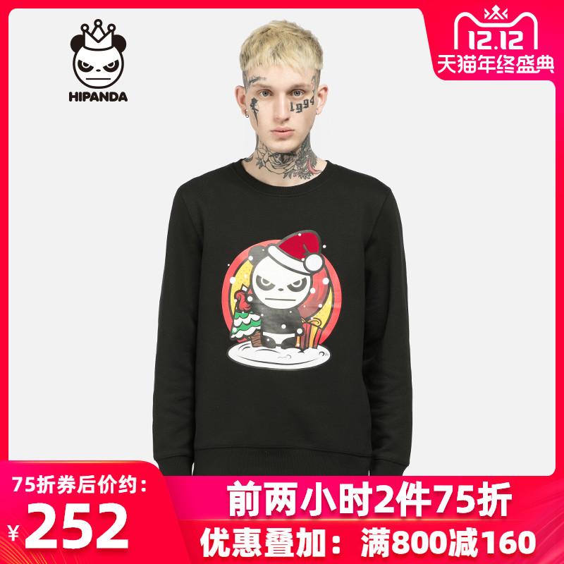 HIPANDA 你好熊猫 设计潮牌   男款 圣诞节熊猫圆领卫衣 thumbnail