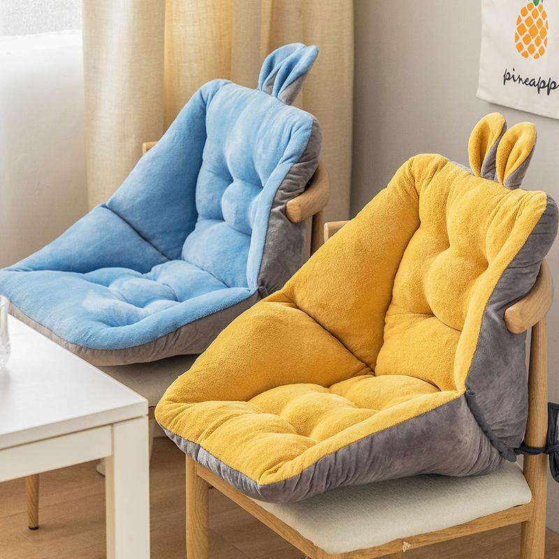 坐垫办公室久坐靠垫一体椅子座椅垫护腰靠背毛绒电脑椅屁股垫冬季 thumbnail