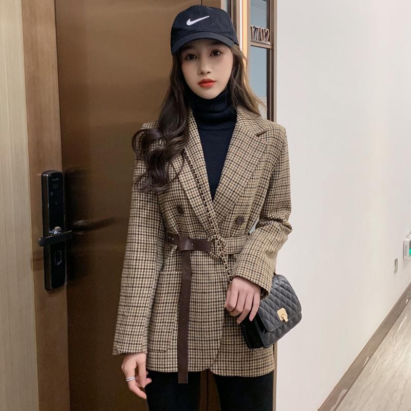 格子西装外套女韩版短款英伦风收腰小西装外套女2020新款秋冬西服
