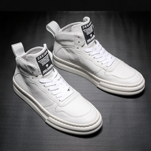 Spring European Station Men's Shoes 2019 Small White Shoes White High Uppers Aj Leather Trend Korean Version Gaobang Board Shoes Korean Version