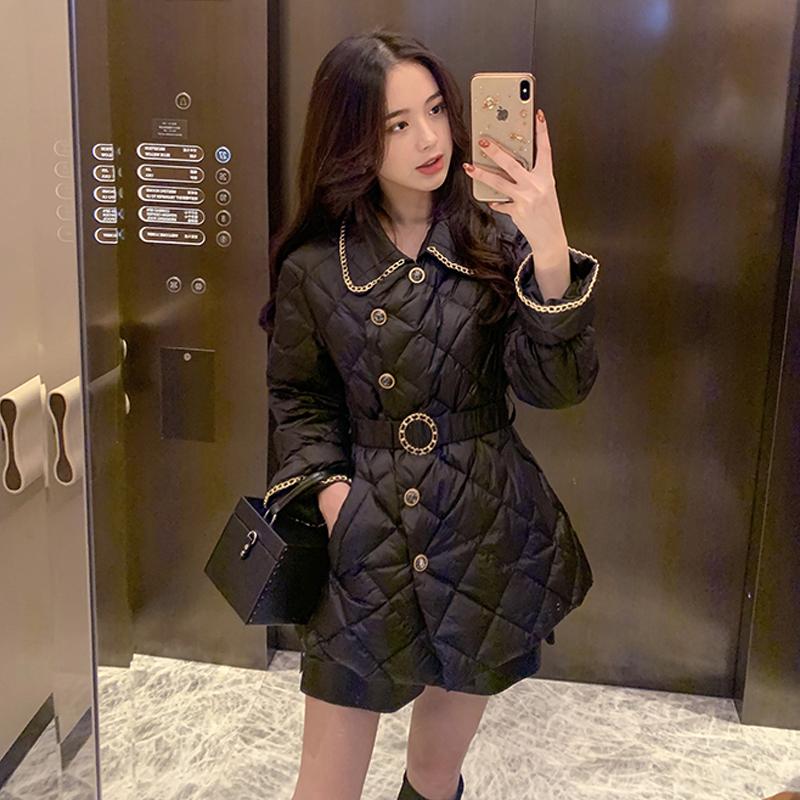 赫本风收腰显瘦中长款羽绒棉服女韩版气质不规则百搭加厚棉衣外套