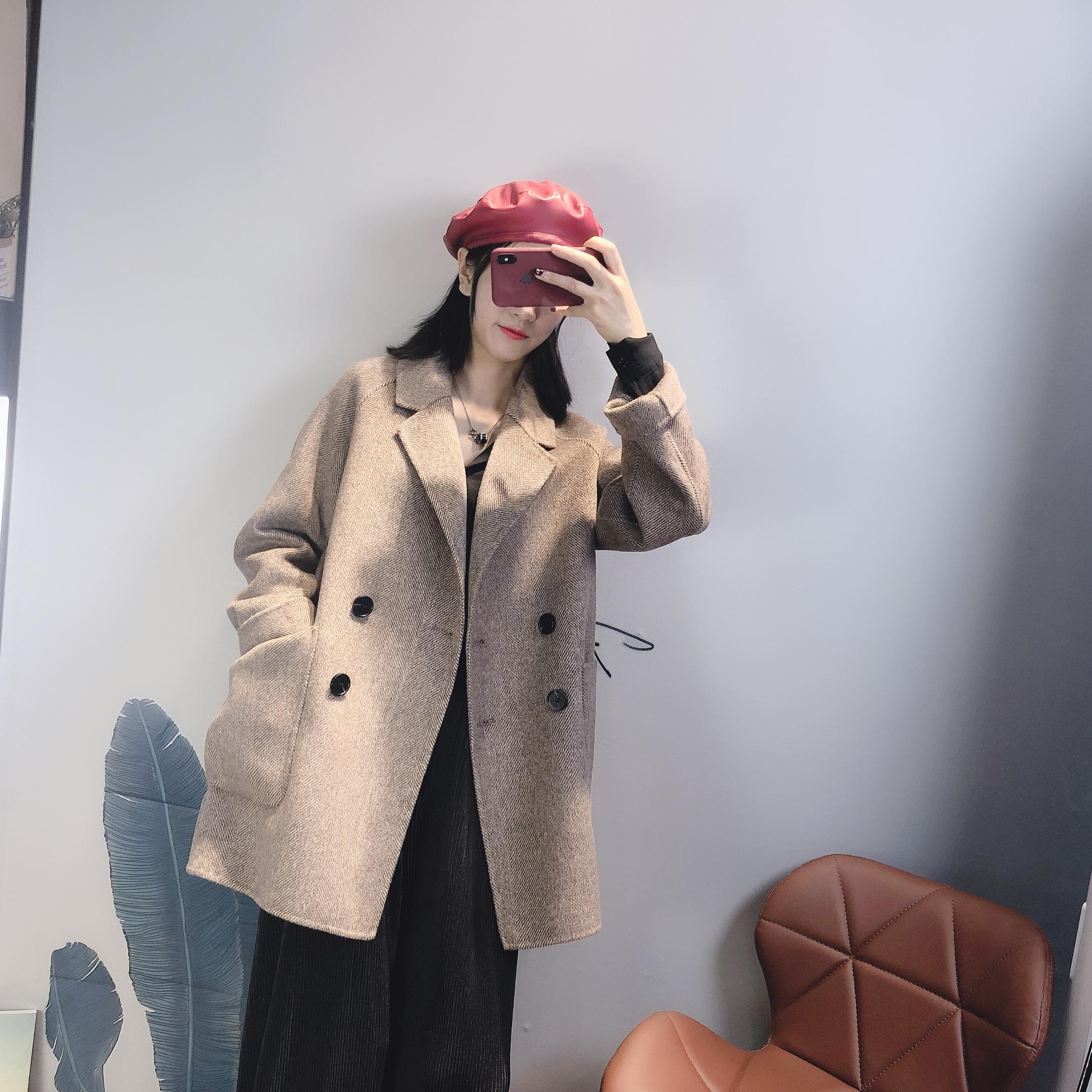 双面羊绒人字纹大衣女小个子毛呢外套反季韩版中长新款2019秋冬