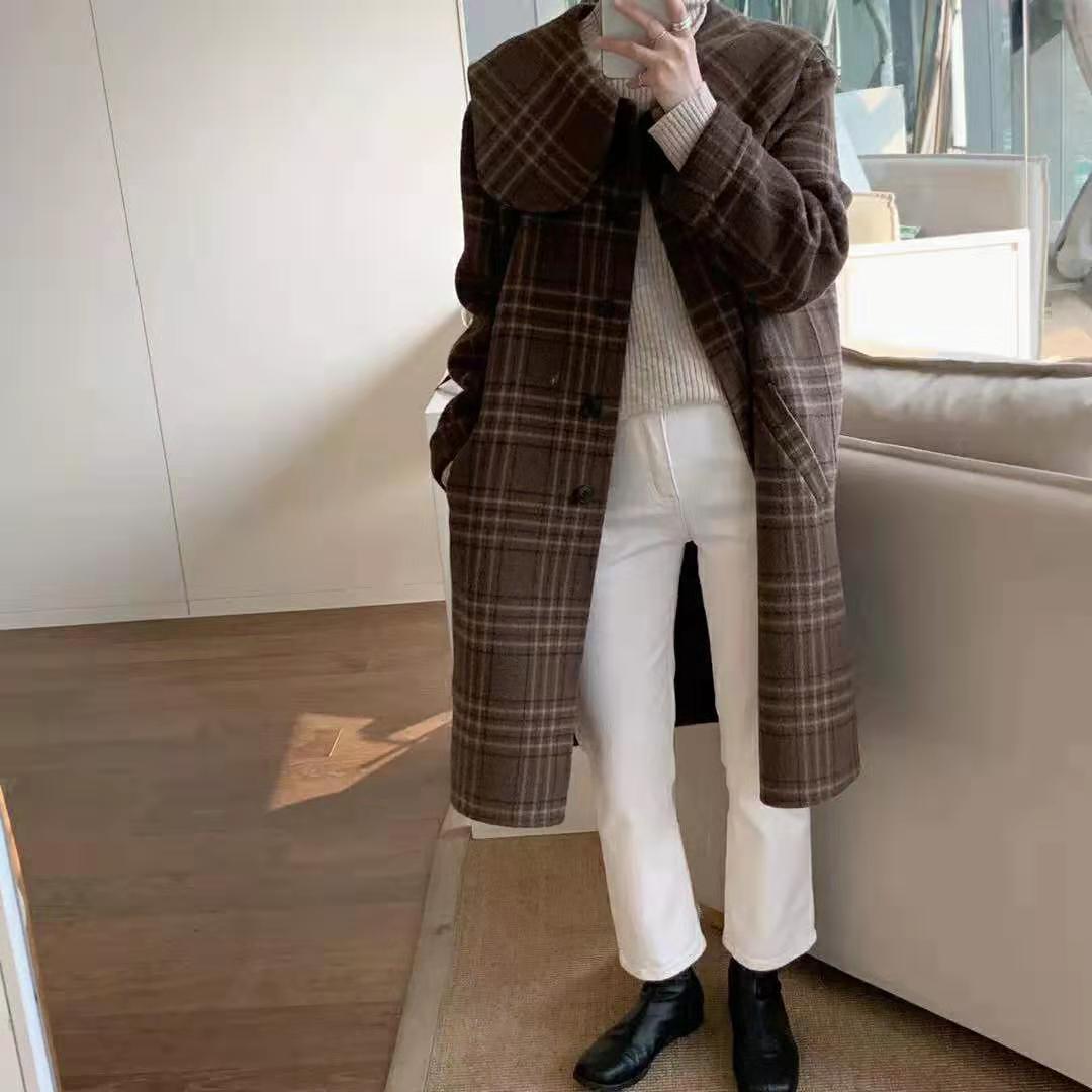 韩国高端卡布奇诺色格子双面羊绒大衣女中长款减龄翻领羊毛呢外套