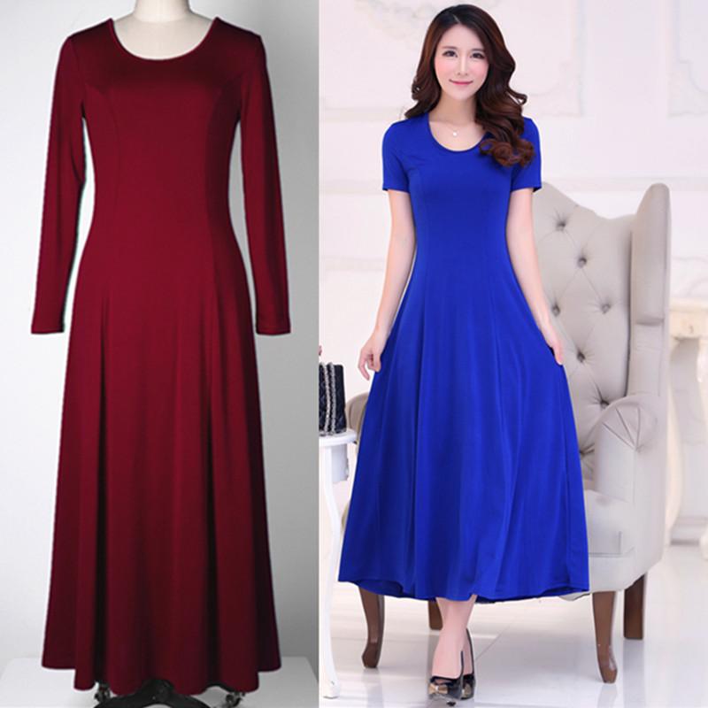 2020夏季新品短袖女连衣裙套头大摆裙韩版修身显瘦纯色打底长裙