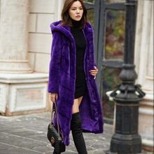 New Golden Velvet Mink Fur Coat Female Mink Long Cap Imported Mink Fur Lady over Knee