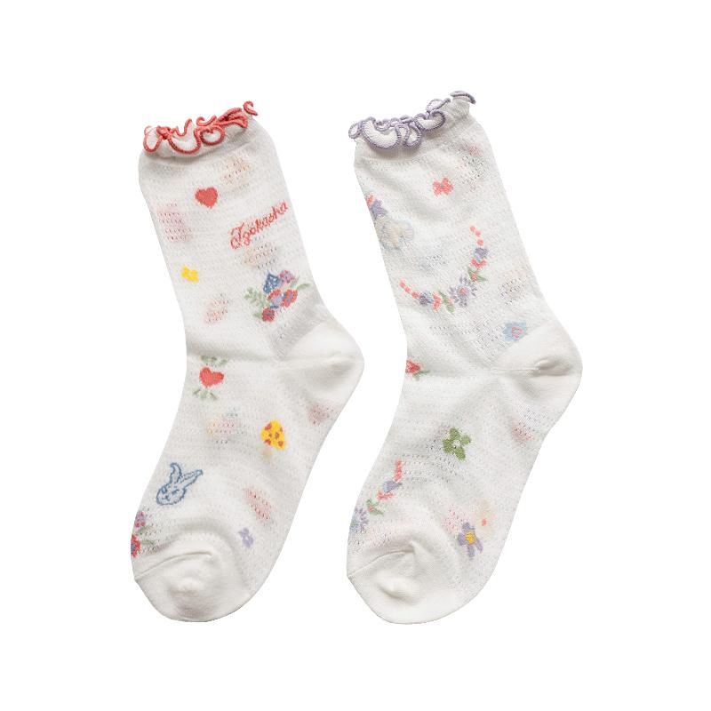 夏季薄款兔子插画袜子女潮中筒袜防晒森系韩国学院风可爱纯棉透气