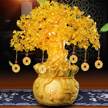 Yellow Crystal Rich Tree Wine Cabinet Decoration Decoration Home Living Room TV Cabinet Decoration Creative Small Money Tree