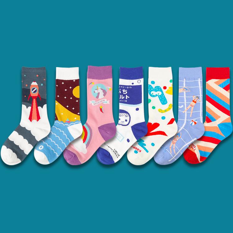 任满5双包邮|男女中筒全棉卡通独角兽花袜子运动袜潮流童趣插画