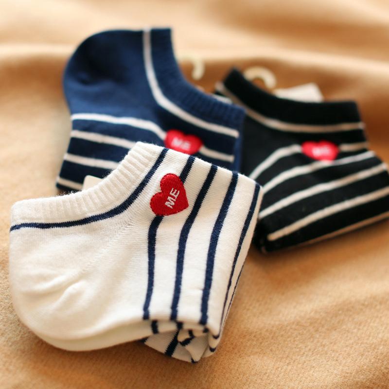 夏季条纹运动纯棉短袜韩版女士学院风袜子低帮浅口刺绣爱心船袜