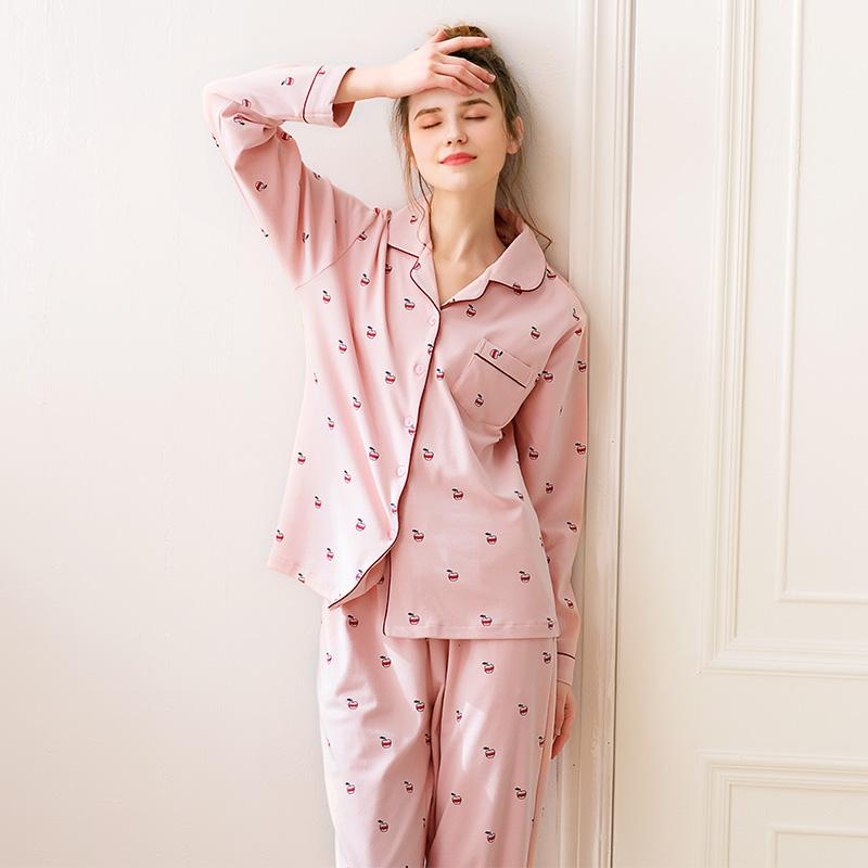 芬騰新款睡衣女秋純棉可愛開衫長袖長褲少女甜美全棉家居服套裝冬