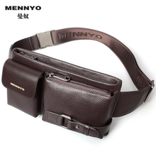 Manu pocket men's leather multi-function sports outdoor Korean version of the first layer of cowhide cigarette bag men's chest bag Messenger bag