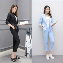 The Fashion Trend of Women's Autumn Suit Suit Suit 2009 New Professional Suit Korean version Leisure Small Suit Nine-minute Pants Two-piece Suit