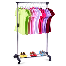 Happy stainless steel single-bar clothes drying rack balcony horizontal bar drying pole landing lifting indoor folding cold clothes rack