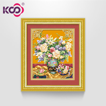 KS cross-stitch embroidery new living room bedroom fresh printed cloth series large-scale plant flower painting graceful and luxurious