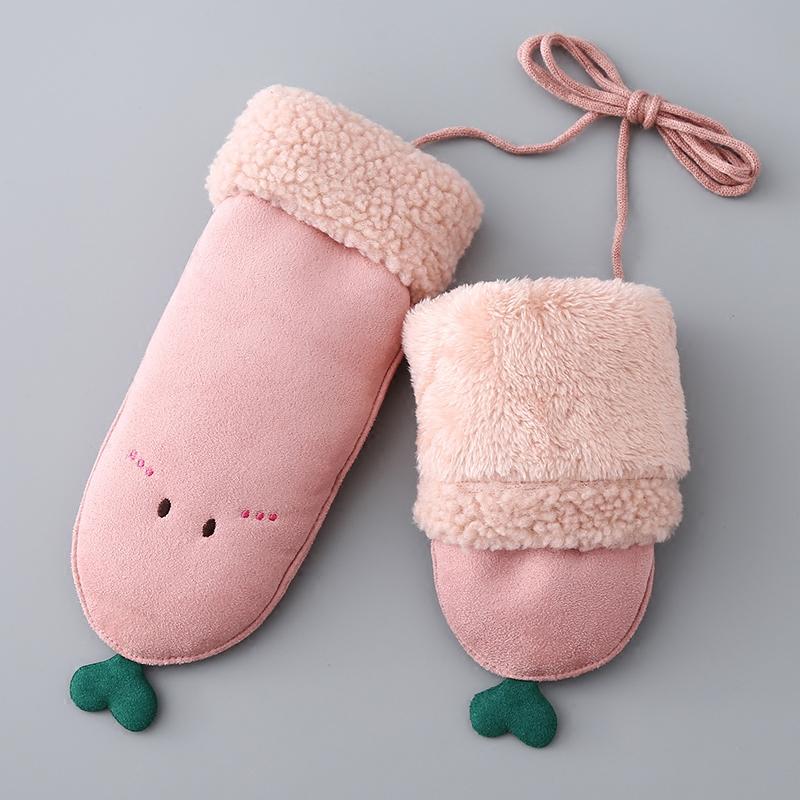 手套女士冬季加絨手套韓版可愛豆芽掛脖包指麂皮絨加絨保暖手套