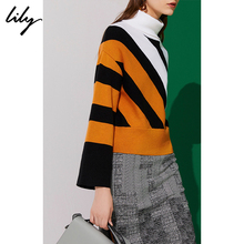 Lily Winter New Women's Wear Colour Stripe High-collar Short Sweater Sweater 118400 B8355