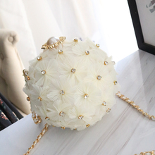 New Chao Nu Bao Chain Bag with One Shoulder Hand-held Inclined Bag with Diamond Flowers