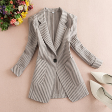 Large striped small suit women's jacket 2019 new Korean version of small fragrance business suit medium sleeve suit thin jacket