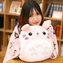 Cartoon Chinchilla pillow quilt doll can intervene coral fleece pillow blanket triple air conditioning blanket plush