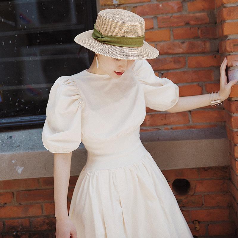甜美到脚踝法式泡泡袖长裙女夏连衣裙收腰显瘦显高灯笼袖裙子气质