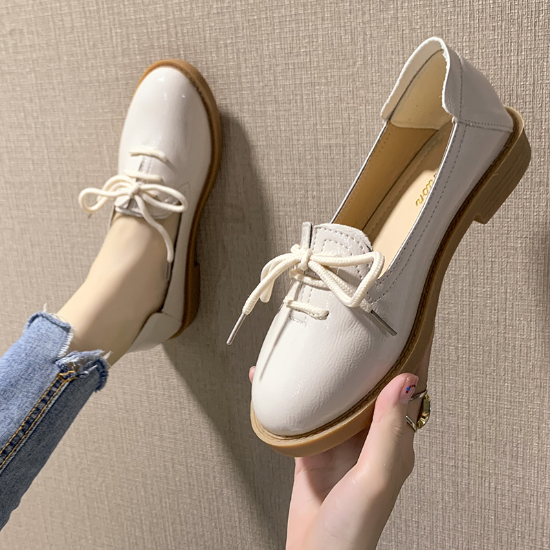 insVintage single-shoe women's 2019 new fall students Korean Style Rounded Toe shallow mouthFlats chic small leather shoes