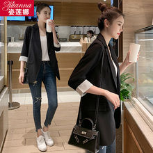 Chic small suit jacket female black seven-sleeved spring and summer 2019 new casual slim suit jacket thin