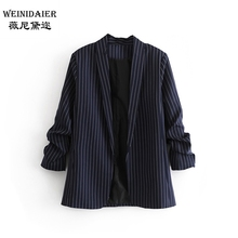 Spring 2019 New Buttonless Stripe Wrinkle Sleeve Suit for Women in Europe and America
