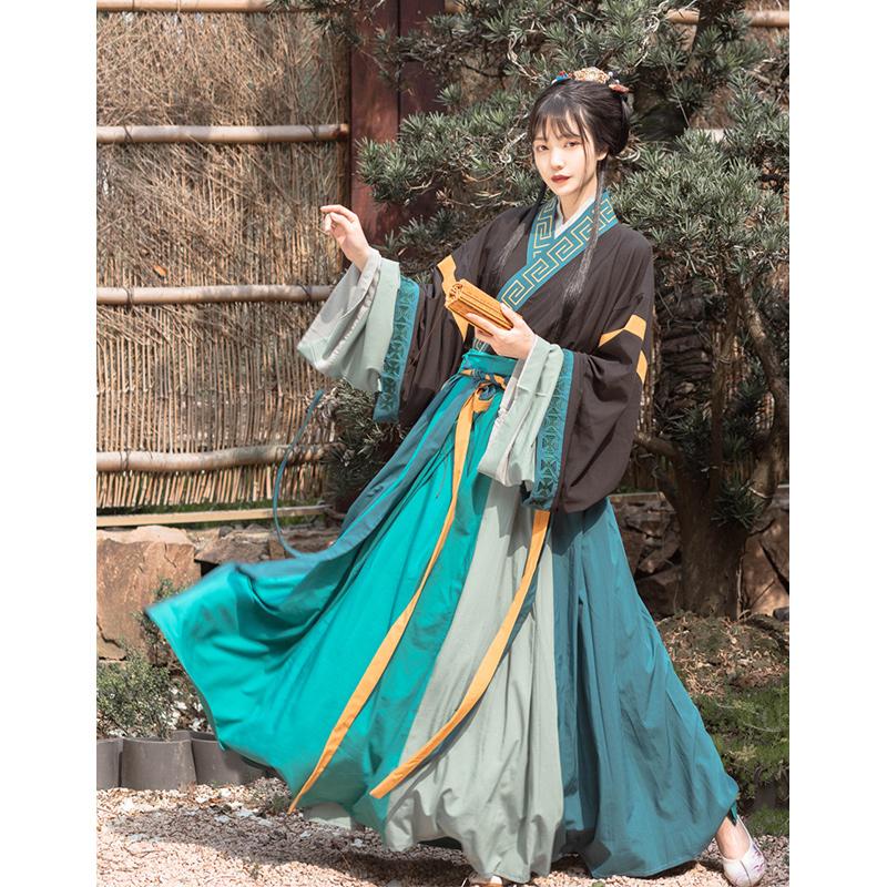 五五年原创汉服女 墨绘 丹青晋襦交领齐腰襦裙6米9米摆男女情侣款
