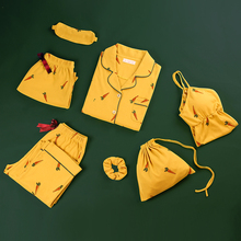 Antarctic Pyjamas Female Summer Pure Cotton Slim Sexy Suspension Girls Spring, Autumn and Summer Seven Suits Home Suit