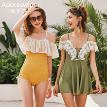 Ador Korean inswind suspension belt with conservative shoulder and skinny fairy model skirt swimming suit