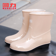 Women's Suede Short Cylinder Warm Rainfoot Shoes Women's Fashion Slip-proof Medium Cylinder Waterproof Rubber Shoes Sleeve Shoes Water Shoes Winter