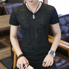 Two air permeable ice silk T-shirts men's short-sleeved fashion V-collar, self-cultivation camouflage, half-sleeve hollow T-shirt, fashion brand