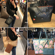 Coach/Kochi Girls Bag Large Capacity Tote Bag Rainbow Single Shoulder Handbag Flower Shopping Bag Double Faced Mother Bag