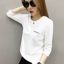 European Station Women's Fashion European Goods Tide 2019 New Long Sleeve White T-shirt Women's Bottom Shirt Spring and Summer Black Underwear T-shirt